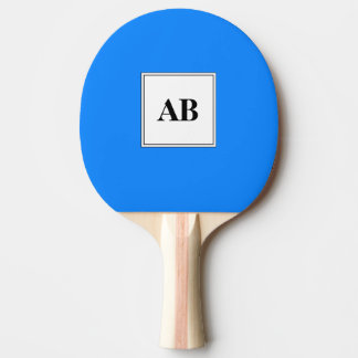Azure blue solid color with monogram ping pong paddle