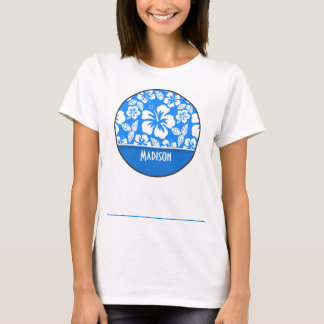 Azure Blue Tropical Hibiscus; Personalized T-Shirt