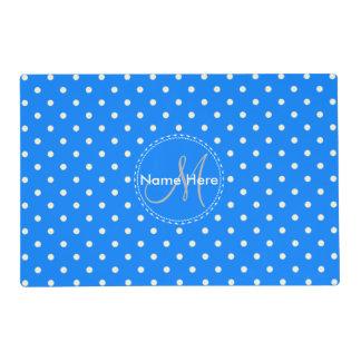Azure Blue & White Polka Dots. Custom Name Laminated Place Mat