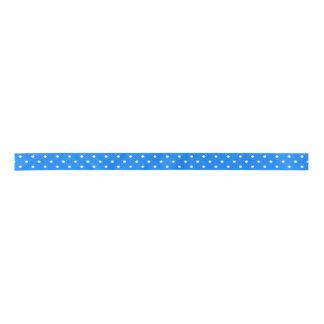 Azure Blue & White Polka Dots. Monogram Satin Ribbon