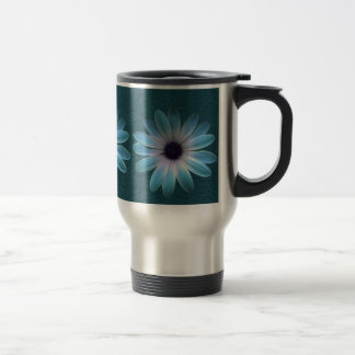 Azure Daisy on Dark Till Leather Print Travel Mug