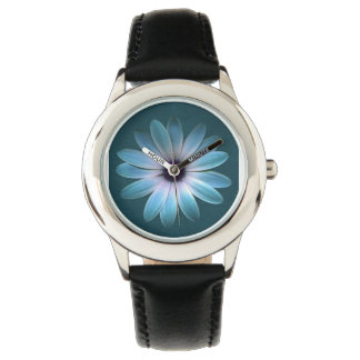 Azure Daisy on Dark Till Leather Print Watch