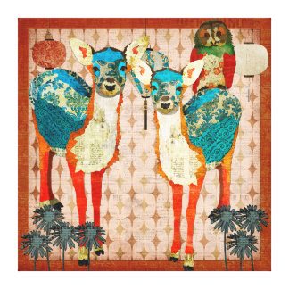 Azure Deer & Rose Owl Fiesta Canvas Art Gallery Wrap Canvas