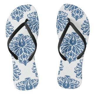 Azure Elegant Damask Flip Flops