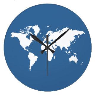 Azure Elegant World Large Clock