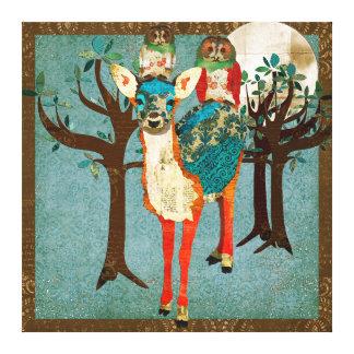 Azure Fawn Rose Owls Full Moon Canvas Art Canvas Print