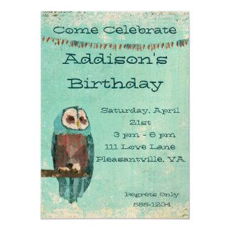 Azure  Owl  Birthday Invitation