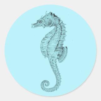Azure Seahorse Classic Round Sticker