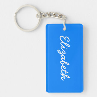 Azure Solid Color Customize It Keychain