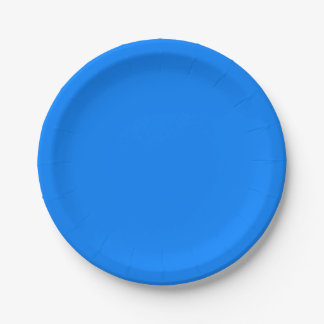 Azure Solid Colour Customize It Paper Plate