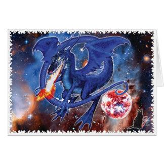 Azurite Cosmic Dragon Greeting Card