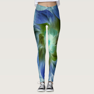 Azurite Malachite Flaming Fractal Flower Leggings