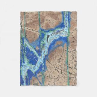 Azurite Stone  Beige and Turquoise Fleece Blanket