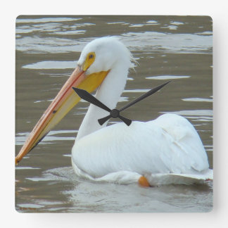 B0015 White Pelican Square Wall Clock