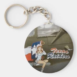 B17 Texas Raiders Nose Art Basic Round Button Keychain