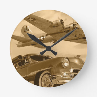 B17 WWII Bomber Over Chevy Clock