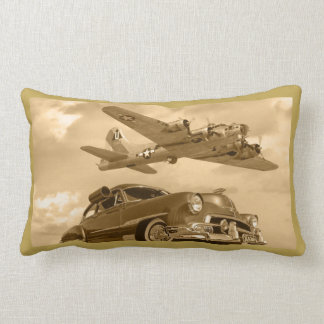 B17 WWII Bomber Over Chevy Lumbar Pillow