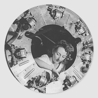 B24 Motor Girl Mechanic Classic Round Sticker