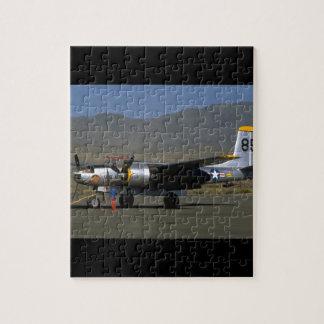 B25. (plane;b25;runway;sky_WWII Planes Jigsaw Puzzle