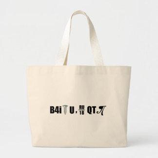 B4i screw U RU over 18 QT pi Large Tote Bag