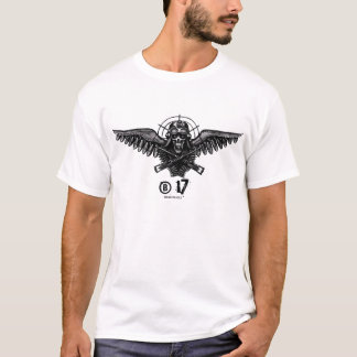 B-17 bomber skull cool military t-shirt design