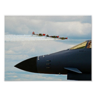 B-1 Bomber and WWII Fighters Poster
