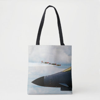 B-1 Bomber and WWII Fighters Tote Bag