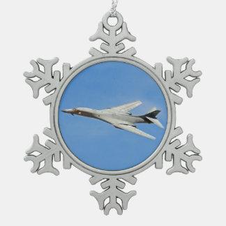 B-1B Lancer Bomber Wings Swept Snowflake Pewter Christmas Ornament