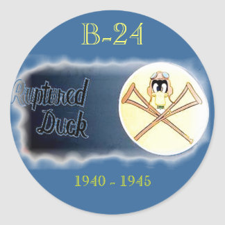 B-24 LIBERATOR HEAVY BOMBER- Misc. Nose Art Classic Round Sticker