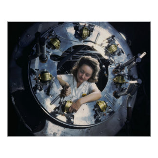 B-25 Bomber Engine Lady, 1942 Poster