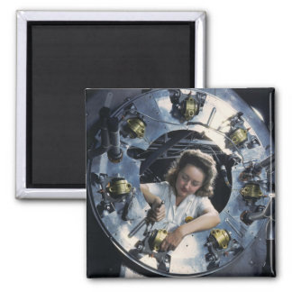 B-25 Bomber Engine Lady, 1942 Square Magnet