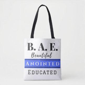 B.A.E. Bag Beautiful Anointed Educated Blue Tote