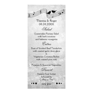 B and W Music Themed Wedding Menu Card Full Color Rack Card