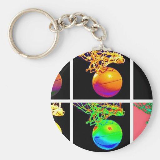 B-Ball Basketball Hoops Pop Art Key Chain
