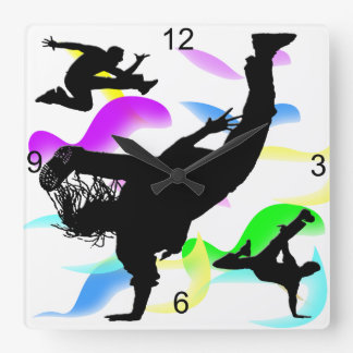 B-boying Square Wall Clock