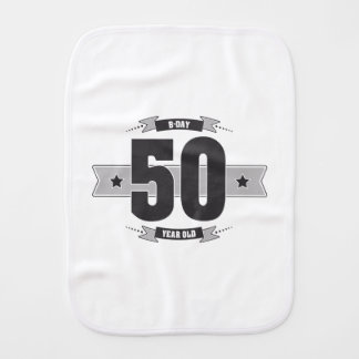 B-day 50 (Dark&Lightgrey) Burp Cloth