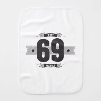 B-day 69 (Dark&Lightgrey) Burp Cloth