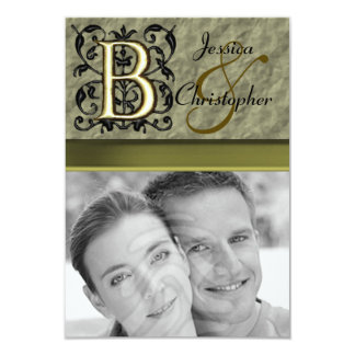 "B - Embossed Vintage Monogram (Gold) 3.5"" X 5"" Invitation Card"