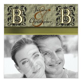 "B - Embossed Vintage Monogram (Gold) 5.25"" Square Invitation Card"