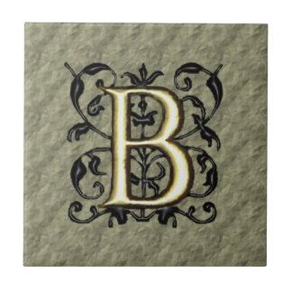 B - Embossed Vintage Monogram (Gold) Tile