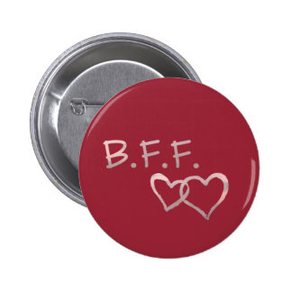 B F F with Linked Hearts 2 Inch Round Button