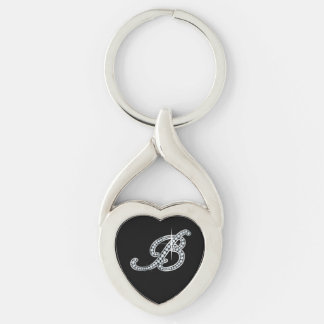 """B Faux-""""Diamond Bling"""" Silver-Colored Twisted Heart Keychain"""