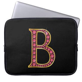 "B Faux-""Ruby"" Monogram Laptop Sleeve"
