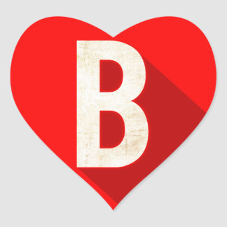B HEART STICKER