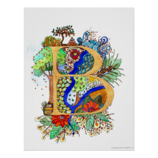 B - Illuminated Letter initial monogram wedding Poster