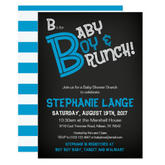 B is for Baby Boy Baby Shower Invitation Card