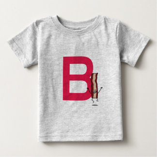 B is for Bacon happy jumping strip abc letter Baby T-Shirt