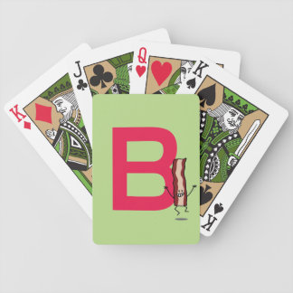 B is for Bacon happy jumping strip abc letter Bicycle Playing Cards