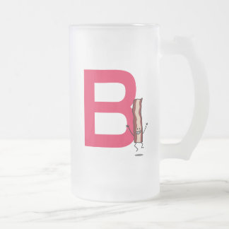 B is for Bacon happy jumping strip abc letter Frosted Glass Beer Mug