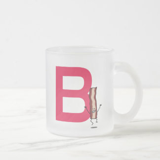 B is for Bacon happy jumping strip abc letter Frosted Glass Coffee Mug